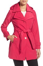 Women's London Fog Belted Double Collar Coat With Hood