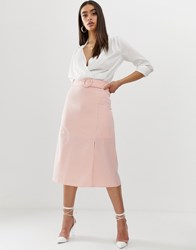 Fashion Union Midi Skirt With Buckle Pink