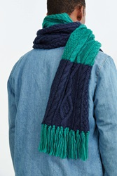 Urban Outfitters Colorblock Cable Knit Scarf Blue Multi