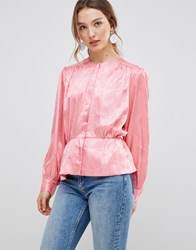 Mbym Satin Button Front Blouse Hot Coral Pink