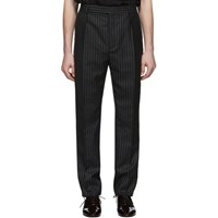Saint Laurent Black And Silver Lame Trousers