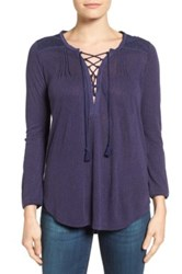 Lucky Brand Lace Up Peasant Blouse Blue