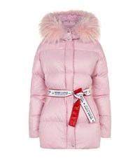 Forte Couture Quilted Fur Hood Coat Pink