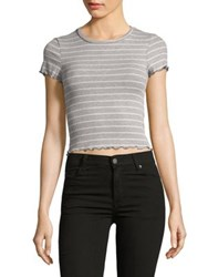 Design Lab Lord And Taylor Ribbed Cropped Top Black White