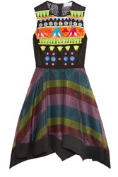 Peter Pilotto Tessera Embroidered And Appliqued Organza Dress Black