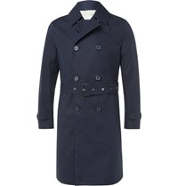 Mackintosh Slim Fit Belted Bonded Cotton Raincoat Navy