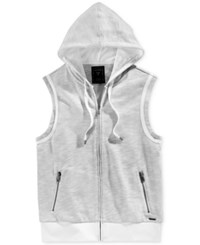 Guess Men's Bryce Slub Sleeveless Hoodie Grey Ink Multi