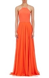 Prabal Gurung Crepe And Chiffon Halter Gown Red