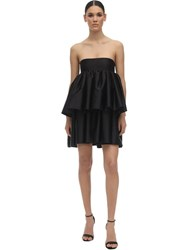 Rotate Carmina Ruffled Satin Mini Dress Black