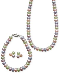 Honora Style Children's Multicolor Cultured Freshwater Pearl Jewelry Set In Sterling Silver