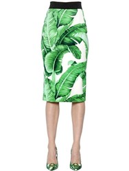 Dolce And Gabbana Leaves Stretch Crepe Pencil Skirt