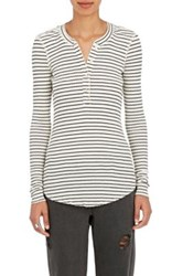 Nsf Women's Hal Striped Cotton Blend Henley No Color