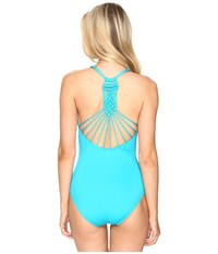 Jantzen Solids Macrame One Piece Turquoise Women's Swimsuits One Piece Blue