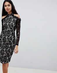 Ax Paris Long Sleeve Lace Pencil Dress With Cold Shoulder Multi