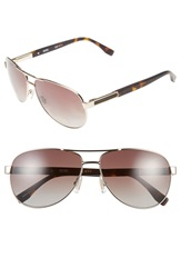 Boss 62Mm Polarized Aviator Sunglasses Semi Matte Light Gold Brown