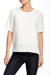 Ro And De Short Sleeve Drop Hem Textured Woven Shirt White