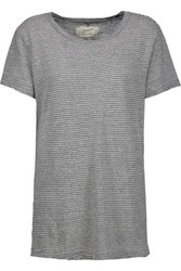Current Elliott The Petit Striped Cotton Jersey T Shirt Gray