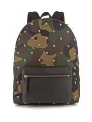 Alexander Mcqueen Camouflage Print Canvas Backpack Green Multi