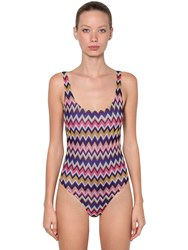 Missoni Printed Viscose Knit One Piece Swimsuit Multicolor