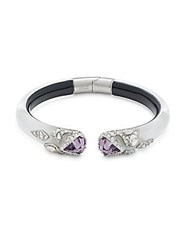 Alexis Bittar Crystal And Lucite Bangle Bracelet Silver