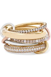 Spinelli Kilcollin Nexus Blanc Set Of Five 18 Karat Yellow And Rose Gold And Sterling Silver Diamond Rings 7
