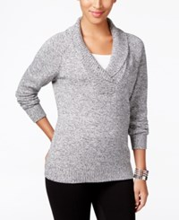 Karen Scott Marled Shawl Collar Sweater Only At Macy's Winter White