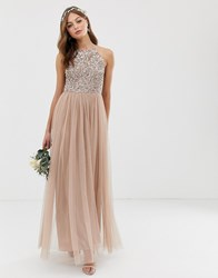 Maya Bridesmaid Halter Neck Maxi Tulle Dress With Tonal Delicate Sequins In Taupe Blush Brown