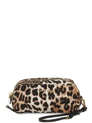 Miu Miu Leopard Print Nylon Makeup Bag