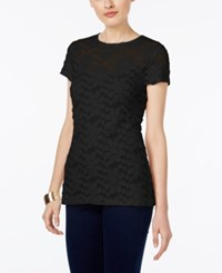 Inc International Concepts Lace Illusion Top Only At Macy's Deep Black