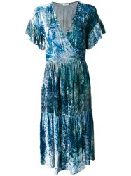 Masscob Marble Effect Wrap Dress Blue