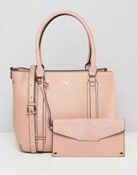 Dune Dylier Blush Tote Bag With Detachable Front Purse Pink