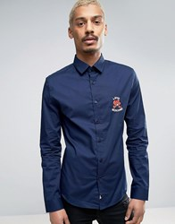 Love Moschino Embroidered Chest Character Logo Shirt Navy