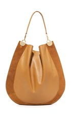 Diane Von Furstenberg Large Leather And Suede Hobo Bag Whiskey