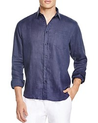 Vilebrequin Linen Button Down Shirt Regular Fit Navy