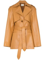 Khaite Billy Short Leather Trench Coat Brown