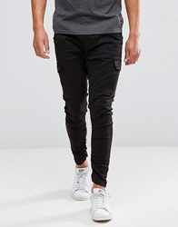Brave Soul Gathered Cargo Trousers Black