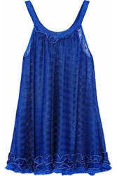 Missoni Ruffle Trimmed Fringed Crochet Knit Coverup Royal Blue