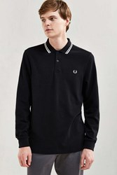 Fred Perry Twin Tipped Long Sleeve Polo Shirt Black
