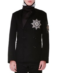 Alexander Mcqueen Beaded Medallion Double Breasted Pea Coat Black