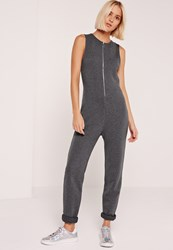 Missguided Loop Back Zip Through Jumpsuit Charcoal Grey