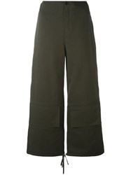 Ports 1961 Cargo Palazzo Pants Women Silk Cotton 40 Green