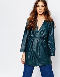 Neon Rose Leather Look Wrap Jacket With Skinny Belt Green