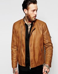 Asos Faux Leather Racing Biker Jacket In Tan With Stitch Detail Brown