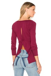 Bobi Light Weight Jersey Open Back Long Sleeve Top Burgundy