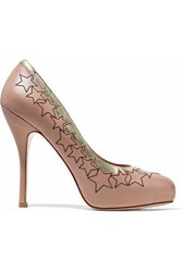 Red Valentino Metallic Trimmed Embroidered Leather Platform Pumps Pastel Pink
