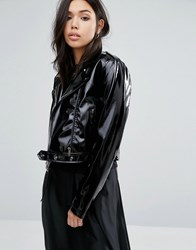First And I Cropped Patent Leather Look Jacket Black