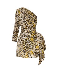 Roberto Cavalli One Shoulder Cheetah Print Silk Dress Yellow Multi