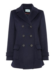 Dickins And Jones Navy Double Breasted Pea Coat