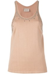Laneus Studded Trim Tank Top Nude Neutrals