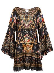 Camilla Friend In Flora Print Silk Mini Dress Brown Print